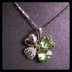 Silver and Crystal Clover Colorful Necklace ☘️